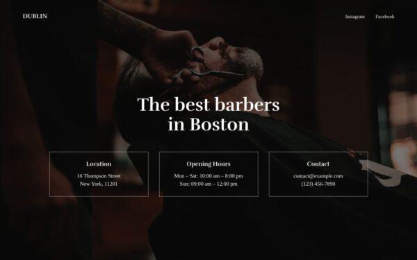 Screenshot of the Dublin demo showcasing a barbershop single page.