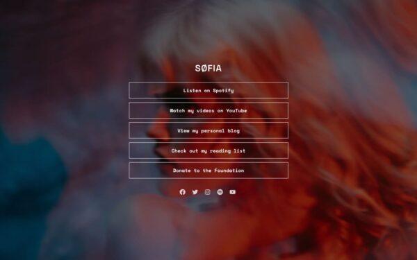 Screenshot of the Sofia demo showcasing an artist single page.