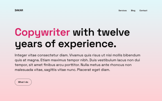 Screenshot of the Dakar demo showcasing a copywriter website.