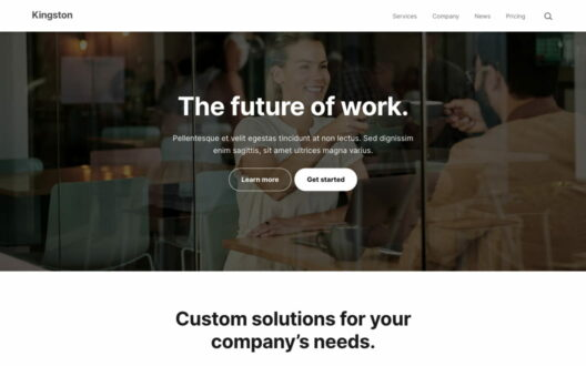 Screenshot of the Kingston demo showcasing a business website.