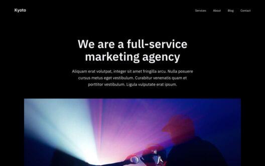 Screenshot of the Kyoto demo showcasing a marketing agency website.