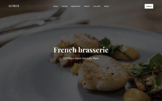 Screenshot of the Lutece demo showcasing a restaurant website.