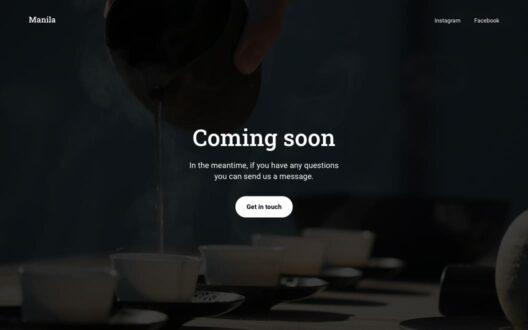 Screenshot of the Manila demo showcasing a coming soon page.