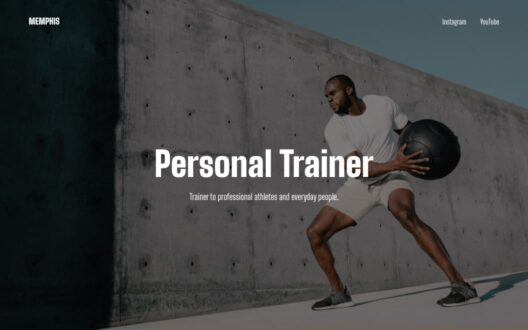 Screenshot of the Memphis demo showcasing a fitness trainer single page.