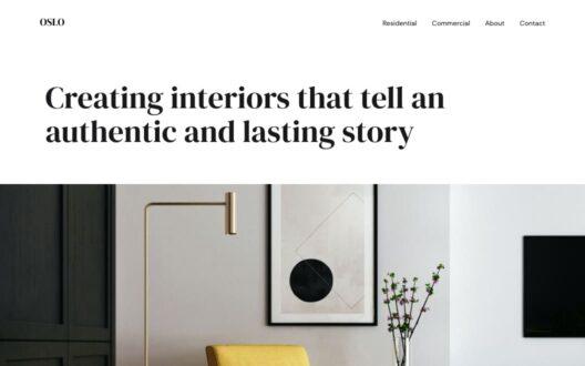 Screenshot of the Olso demo showcasing an interior design studio website.