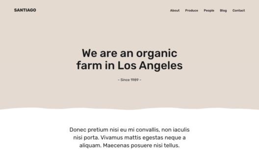 Screenshot of the Santiago demo showcasing a farm website.