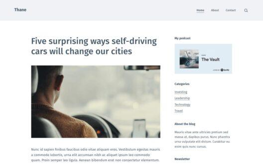 Screenshot of the Thane demo showcasing a business blog.