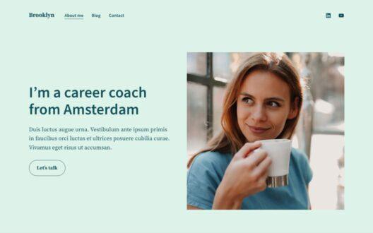 Screenshot of the Brooklyn demo showcasing a personal website.